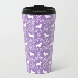 Corgi silhouette florals dog pattern purple and white minimal corgis welsh corgi pattern Travel Mug
