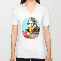 beethoven V-neck T-shirts featuring Ludwig van Beethoven 4 by Marko Köppe