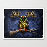 pinapple Canvas Prints featuring Pinapple Breasted MooseOwl by Joby Cummings