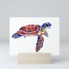 Sea Turtle Children Illustration, kids wall art Mini Art Print