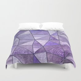 Purple Lilac Glamour Shiny Stained Glass Duvet Cover