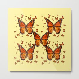 ORANGE MONARCH BUTTERFLIES CREAM  MODERN ART MONTAGE FOR the Metal Print