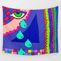 totes Wall Tapestries featuring Abstract 34 by Linda Tomei