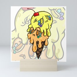 Double Scoop Sugar Skull Ice cream, yellow and orange  Mini Art Print