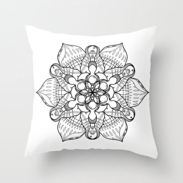 Symmetrical Sea, Lineart Only Throw Pillow