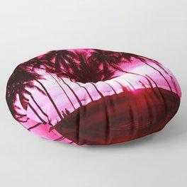 Pink Summer Palm Trees Floor Pillow