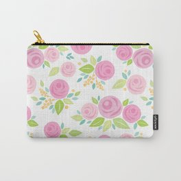 Paper Roses & Leaves Pattern Carry-All Pouch