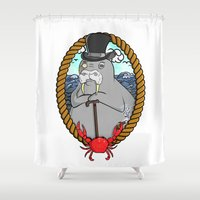 walrus Shower Curtains featuring The Walrus  by Christine Valentine