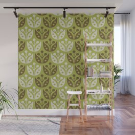 Mid Century Modern Flower Pattern Chartreuse and Brown 112 Wall Mural