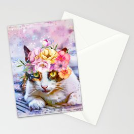 Flower Power Pussycat Stationery Cards