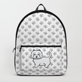 Cute West Highland White Terrier Dog Cartoon Illustration Backpack