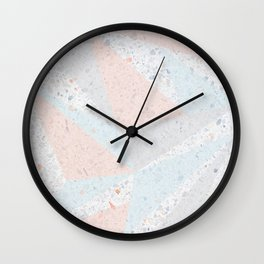 Soft terrazzo pastel with abstract geometric triangles Wall Clock