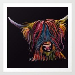 Scottish Hairy Highland Cow ' SWEET P ' by Shirley MacArthur Art Print
