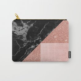 Black Marble Rose Gold Carry-All Pouch