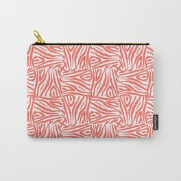 Coral Zebra Print Squares Carry-All Pouch