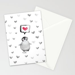 Tiny penguin love Stationery Cards