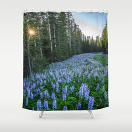 High Country Lupine - Purple Wildflowers in Montana Mountains Shower Curtain