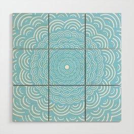 Spiral Mandala (Light Sky Blue) Curve Round Rainbow Pattern Unique Minimalistic Vintage Zentangle Wood Wall Art