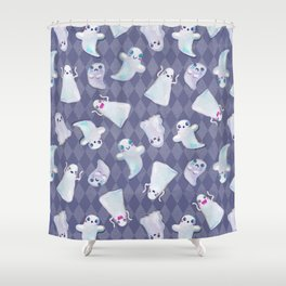 Cute Halloween Kawaii Ghost Pattern on Blue Shower Curtain