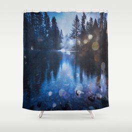 Magical Blue Forest Water Reflection - Nature Photography Shower Curtain