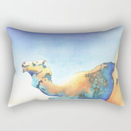 Watercolor painting of camel lying on ground.  Camel art.  Camel painting. Rectangular Pillow