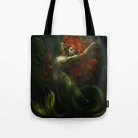 little mermaid Tote Bags featuring Little Mermaid by Caroline Jamhour