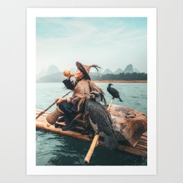 Yangshuo fisherman with his cormorants Art Print