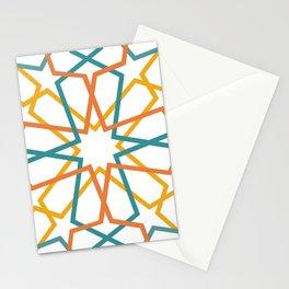 Orange Yellow Turquoise Geometric Tile Pattern Stationery Cards