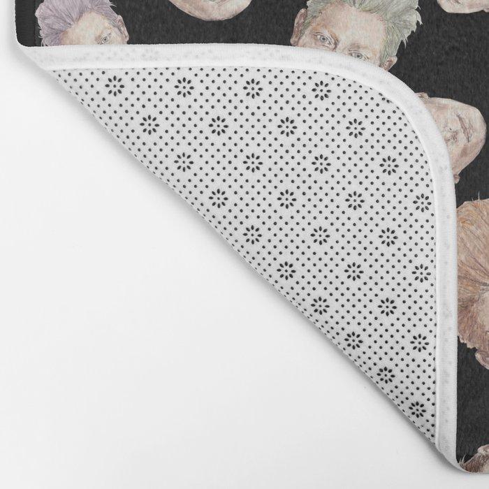 Tilda Heads on Black | Hair Pattern Bath Mat