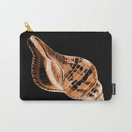 Shell nautical coastal in black background Carry-All Pouch