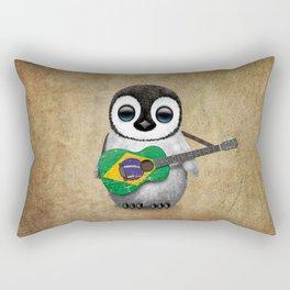 Baby Penguin Playing Brazilian Flag Acoustic Guitar Rectangular Pillow