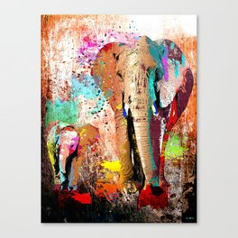 African Elephant Family Painting Canvas Print