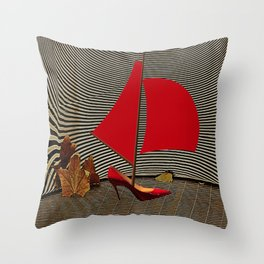 May Parking in the Museum - shoes stories Throw Pillow