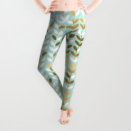 Gold and pale green leaves seamless pattern Leggings