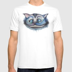 Cheshire Cat Grin - Alice in Wonderland MEDIUM White Mens Fitted Tee
