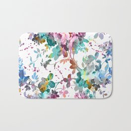 Abstract pink teal watercolor splatters floral pattern Bath Mat