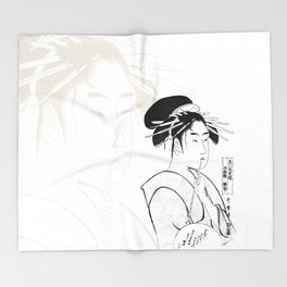 Geisha Sumi-e Throw Blanket