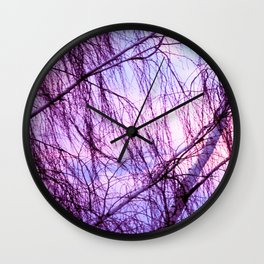 Pink Lavender Sky Through Wispy Trees Wall Clock