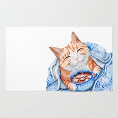 Happy Cat Drinking Hot Chocolate Rug