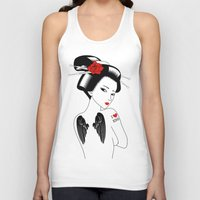 angel wings Tank Tops featuring Geisha with Angel Wings by Neo X Kyo