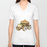 junk food V-neck T-shirts featuring junk food car by immiggyboi90