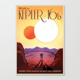 NASA Retro Space Travel Poster #8 Kepler 16b Canvas Print