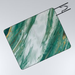 Emerald Jade Green Gold Accented Painted Marble Picnic Blanket