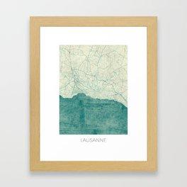 Lausanne Map Blue Vintage Framed Art Print