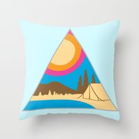 camping Throw Pillows featuring Camping by Wendy Ding: Illustration