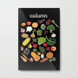 Autumn Seasonal Produce Decor, 4 Seasons Wall Art Set of 4 Vegetable Prints Metal Print