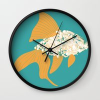 goldfish Wall Clocks featuring Goldfish by Julia Kisselmann