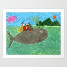 Ozzi and Lulu, The Whale Art Print