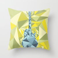 guitar Throw Pillows featuring GUITAR by petitscoquins