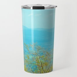 Deciduous beech forest view in spring, mountain landscape Travel Mug